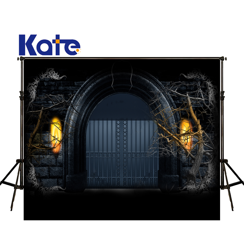 KATE Halloween Fotografia Backdrop Newborn Baby Rusty Iron Gate Photography Backdrop Gray Floor Background For Photo Studio<br>