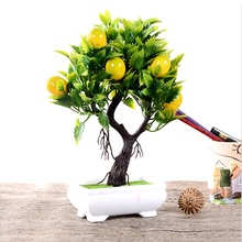 Artificial Fruit Orange Apple Lemon Tree Bonsai For Wedding Party Home Decoration Fake Green Pot Plants Flowers Ornaments(China)