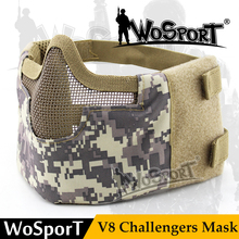 WOSPORT Paintball Half Face V8 Steel Net Mesh Tactical Military Protective Mask for Airsoft Feild Game Military Cosplay Training