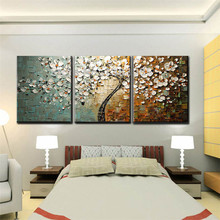 Hand Painted Abstract White Tree Flower Textured Knife Painting On Canvas Modern Oil Picture 3 Piece