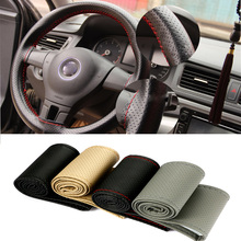 38cm Car Styling Black DIY Car Steering Wheel Cover With Needles and Thread Genuine Artificial leather Car-Styling Accessories