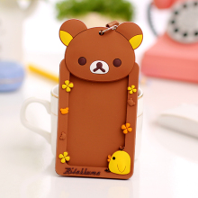 PVC Badge Holder With Neck Lanyard ID Card Holder Credit Card Bus Card Case Cartoon Rilakkuma 1pcs