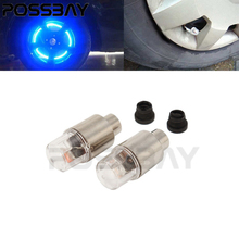 Universal 2PCS Car Tire Tyre Wheel LED Valve Cap Stem Lights Lighting Blue Decoration New Style Car Tyre Value Covers