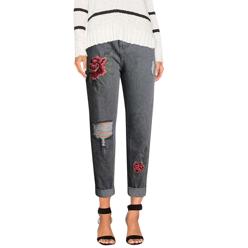 WOMAIL European and American women's embroidered high-waist jeans street wind holes baggy jeans W30416