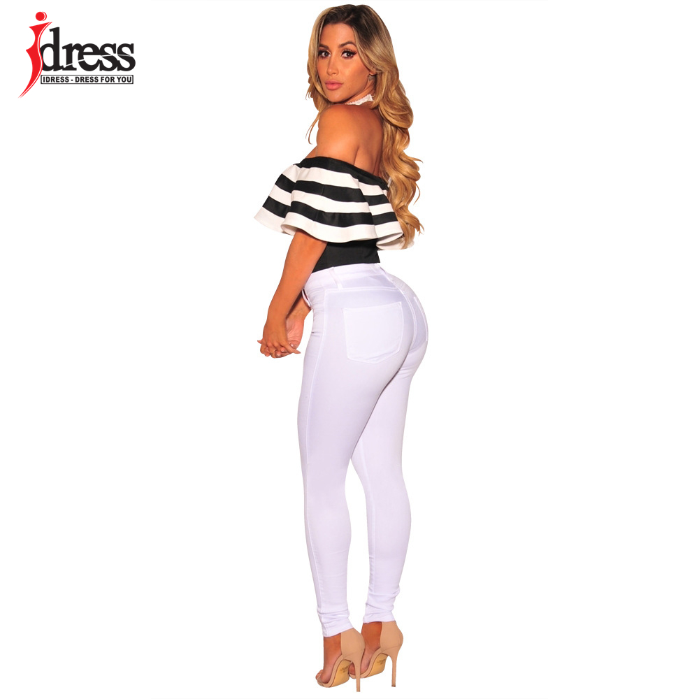 IDress Black and White Striped Bodysuit Women 2017 Summer Ruffles Strapless Off Shoulder Romper Backless Bodycon Women Jumpsuit (10)