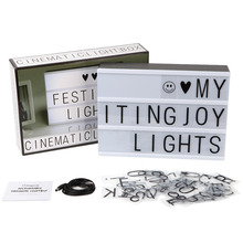 DIY Cinematic Lightbox USB LED Night Light Combination Home Birthday Wedding Decor Light Lamp Box With 72pcs Letter Symbol