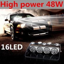 48W Windshield Led Strobe Light Car Flash Signal Emergency Fireman Police Beacon Warning Light S16 Viper Spotlights Red Blue