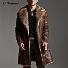 7xl Plus Size Reversible Jacket Men Faux Fur Mid-long Autumn Jacket Winter Coat Male Trench Overcoat Casaco Jaqueta Masculino(China)