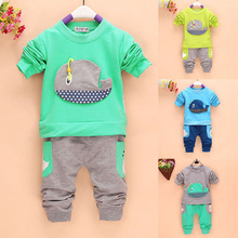 2Pcs Outfits 1-4Years Kids Baby Boys Clothes Long Sleeve Whale Tops+Long Pants Clothing Sets 4 Colors