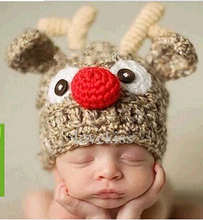 2016 Christmas Baby Beanie Crochet Hat,Rabbit Baby Winter Cap Newborn Props,Infant Knitted Santa Hat Handmade Cap(China)