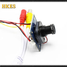 HKES 8pcs/lot HD 1200TVL CCTV Analog Mini Camera module board with IR-CUT and BNC cable 3.6mm lens PAL/NTSC