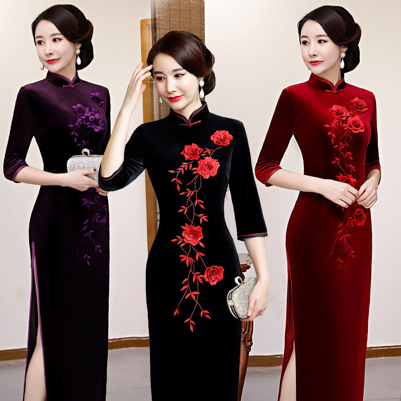 New Autumn Winter Velvet Lady Slim Qipao Flower Elegant High Split Cheongsam Novelty Ankle-Length Chinese Dress Big Size M-4XL