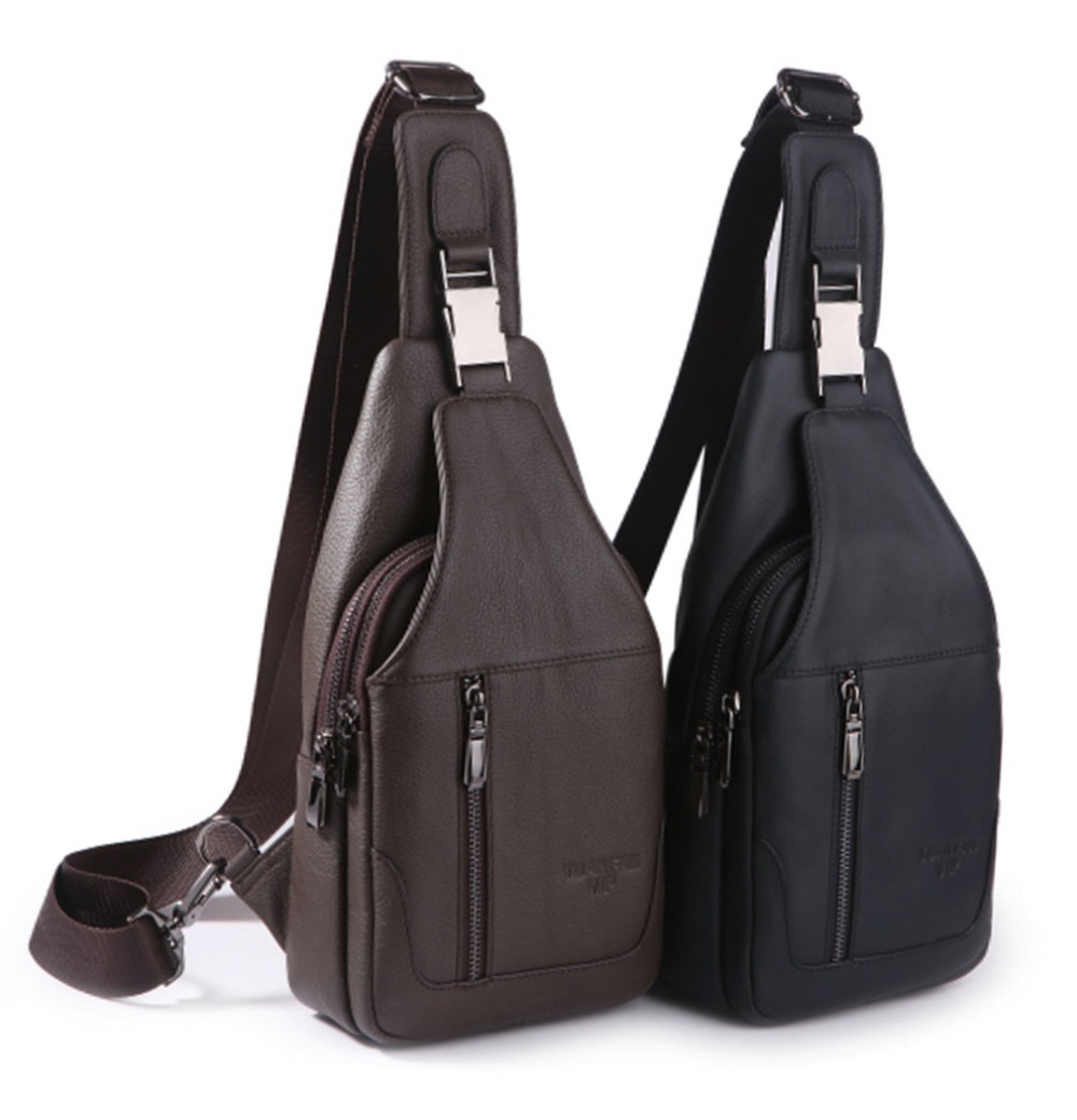 Top Quality Genuine Leather Men Sling Chest Back Day Pack Travel Riding Casual Cross Body Messenger Shoulder Bag<br>