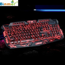 Beautiful Gift Brand New 3 Colors USB Illuminated Led Backlit Backlight Gaming Crack Keyboard M200 Wholesale price Dec28
