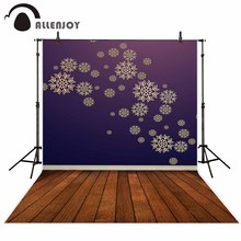 Allenjoy photo backdrop snowflake vintage door brown wood floor Christmas background original design vinyl cloth fabric(China)