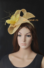 NEW 13 colours Yellow gold sinamay Feather Fascinators for kentucky derby,wedding,ascot races,melbourne cup,party.(China)