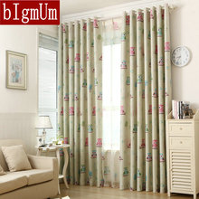 Eco-friendly curtains for Kids /Children's Bed  Room  blackout curtains Owl/bird printed curtain cartoon window treatment