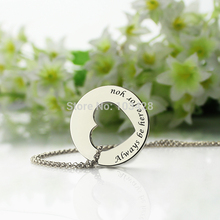 Personalized Disc Heart Necklace  Promise Necklace Silver Cut Out Heart Name Necklace Always Be Here For you Love Jewelry