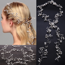 Bridal Hair Ornaments 100cm Long Hair Vine Pearl Headband For Women Crystal Flower Tiara Head Chain Wedding Hair Accessories