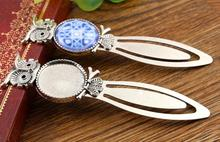 New Fashion 2pcs 20mm Inner Size Antique Silver Simple Style Handmade Bookmark Cabochon Base Cameo Setting (H1-13)(China)