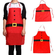 Household Cleaning Accessories Christmas Decoration Santa Apron Home Kitchen Cooking Baking Chef Polyester Red Apron