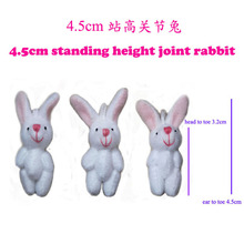 100pcs/lot, 4.5cm joint rabbit doll mini plush rabbit cute mobile phone accessories, Easter rabbit gifts t(China)
