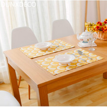 DUNXDECO 2PC 32x45CM Fresh Yellow Fan Geometric Linen Cotton Table Placemat Home Party Store Table Decor Gift