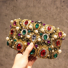 gold retro gem dinner bag diagonal package sequins flash diamond party package heavy beaded clutch(China)