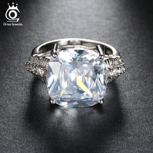 ORSA JEWELS 20% Off Big Size Cushion Cut 8 Carat Luxury Austrian Cubic Zirconia Engagement Rings Promise Gift for Women ORW100