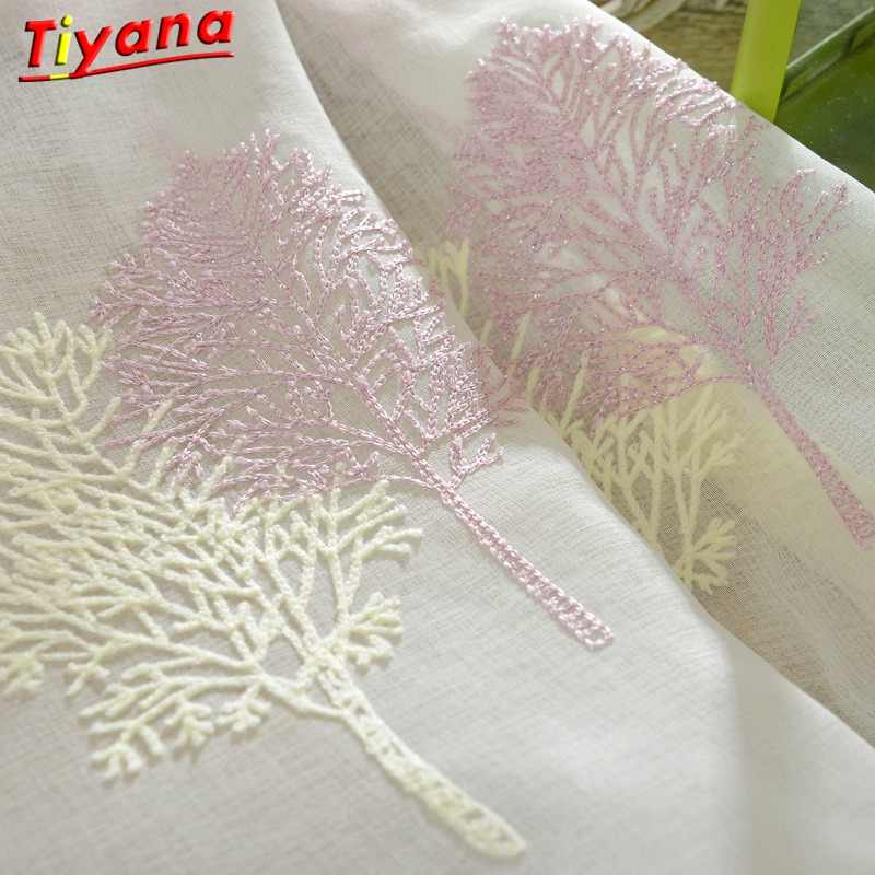 TUllE FOR WINDOWS embroidered window sheers White valance Tulle Curtains Kitchen Curtains Voile Romantic Tree pattern Su227 *30