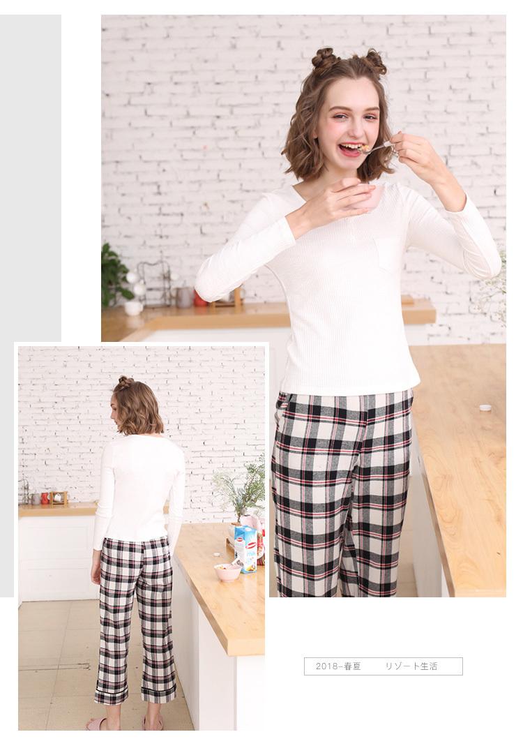 ab35282b78 2018 Women S Pajamas Set Plaid Pattern Cozy Home Suit Pajama From ...