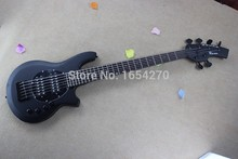 Free shipping HOT black bango bass Best Custom 6 string MUSIC man bass  BASS guitar active pickups 9V battery  150604