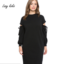 Lazy KoKo Women Plus Sweatshirt Dress Cut Out Shoulder Long Sleeve Mini Dress Solid Black Ladies Funny Casual Loose Dresses(China)