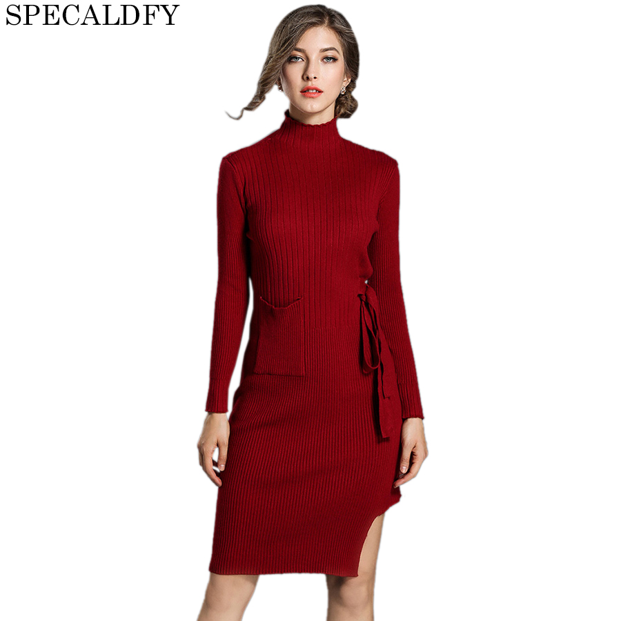 2018 Autumn Winter Turtleneck Sweater Dress Women Long Sleeve Sexy Bodycon Dresses Party Ladies Office Knitted Dress Vestidos Îäåæäà è àêñåññóàðû<br><br>