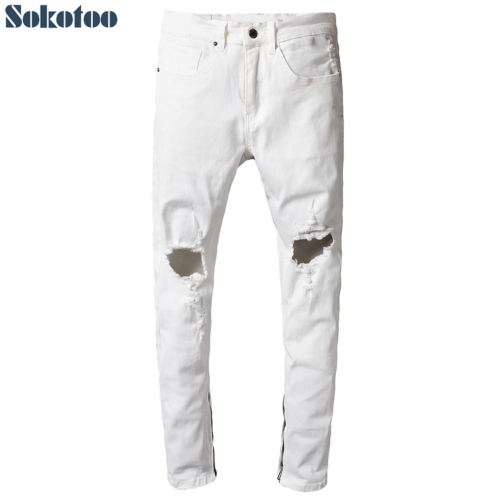 Sokotoo Mens white holes ripped jeans Casual zipper bottom distressed torn denim pantsÎäåæäà è àêñåññóàðû<br><br>