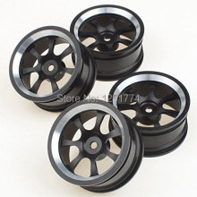 Aluminum Alloy Wheel Rims With 7 Spoke For RC 1:10 On Road Car Black Pack Of 4