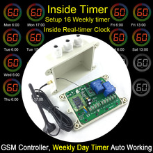 GSM-WEEKLY GSM Relay Remote Switch Controller Built-in clock for 16 timer automatic working two Relay Control