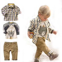 Bibihou New Fashion Kids Clothes Boys Autumn Clothing Set Shirt + Print T-shirt + Pants Baby Boys Clothes Children Clothing 3-7T