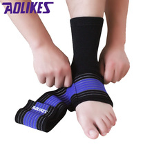 AOLIKES 2Pcs /Lot Professional Sports Ankle Strain Wraps Bandages Elastic Ankle Support Brace Protector For Fitness Running