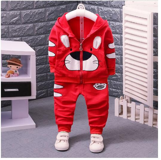 Baby Boys Fashion Tracksuits 100% Cotton 2017 Autumn Cartoons Animal Coat+Pant Outfits Infant Kids Suit 2PCS Sets Baby Clothes<br>