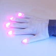 1pair white 7 Mode LED Gloves Rave Light Finger Lighting Flashing Glow Mittens