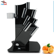 Beautiful acrylic kitchen ceramic knife holder, kitchen knife stand block for 3'' 4'' 5'' 6'' knives with one peeler