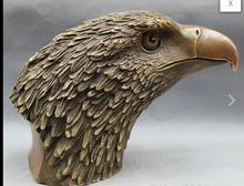 "8"" Chinese Bronze Copper Folk Home Fly Hawk Eagle King Bird Head Statue Figurine"