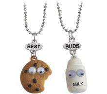 2pcs/set Best Friends Buds BFF pendant bead chain necklace fastfood milk cookie biscuit children kids cute lovely jewelry