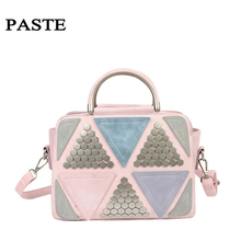 The New Tide Of Triangular Bump Color Stitching Lady Handbag Rivet Contracted One Shoulder His Female Bag Everyday Bag