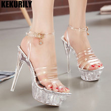 high heels sandals platform 2018 buckle super heel transparent shoes woman  wedges pumps slides Plus Size silvery 13fdd7b836e1