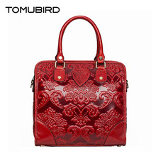 TOMUBIRD New Superior cowhide leather Classic Designer Embossed Genuine Leather bag Retro Style Boston bag Fashion Tote Handbags(China)