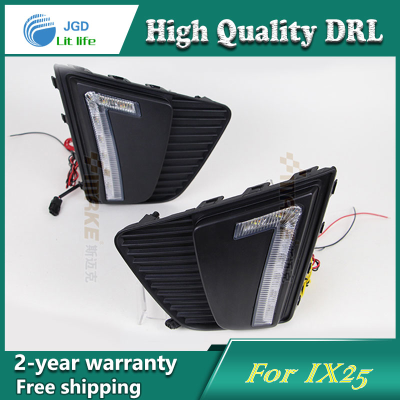 Free shipping !12V 6000k LED DRL Daytime running light case for Hyundai IX25 fog lamp frame Fog light Car styling<br>