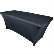 many quantity with Big Discount !! 10pcs Spandex rectangle table cover 180*60*75cm Black Free Shipping MARIOUS(China)