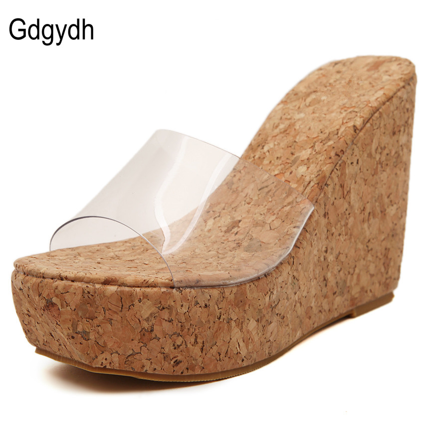 Gdgydh 2017 New Summer Transparent Platform Wedges Sandals Women Fashion High Heels Female Summer Shoes Size 35-39 Drop Shipping<br><br>Aliexpress